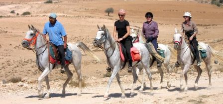 group of riders at the start of the Arabian Ride in Jordan